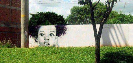 Black kid with tree head