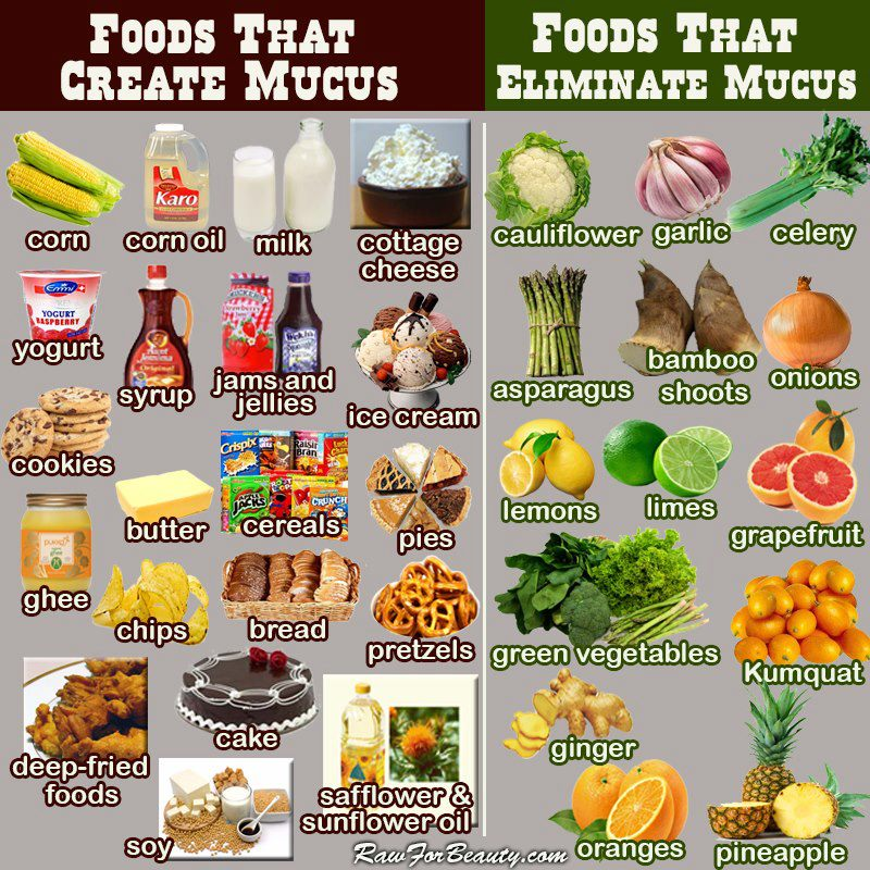 Foods and mucus