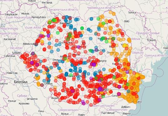 Harta Interactiva a proiectelor de Energie Regenerabila din Romania