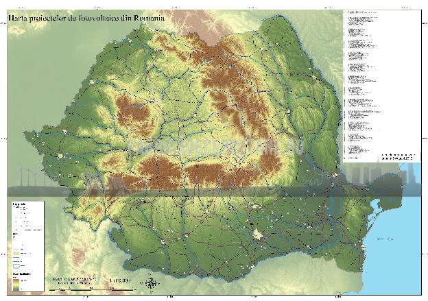 Harta proiectelor de producere a anergiei electrice cu microhidrocentrale din Romania