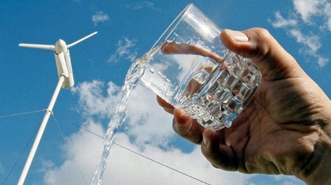 a wind turbine that creates fresh water out of thin air