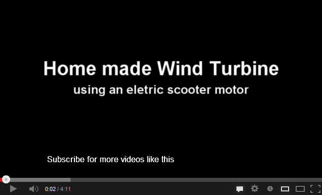 Home made wind turbine using an electric scooter motor