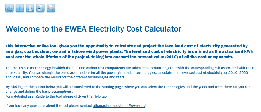 The EWEA Online Electricity Cost Calculator