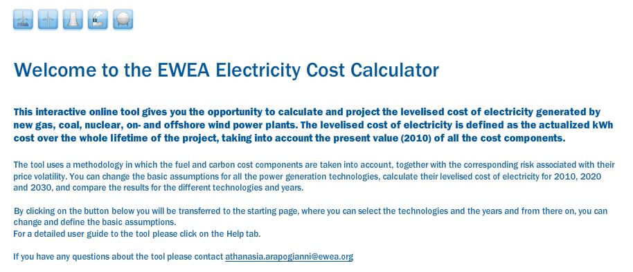 The EWEA Online Electricity Cost Calculator