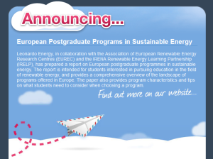 European Postgraduate Programs in Sustainable Energy