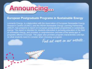 European Postgraduate Programs in Sustainable Energy