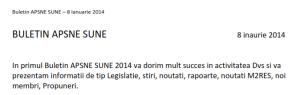 APSNE SUNE BULLETIN -  8 JANUARY 2014 ( in romanian language )
